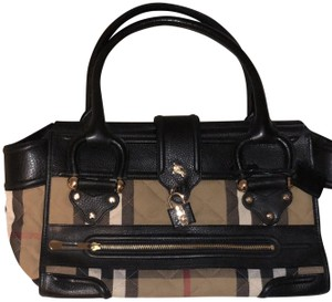 Burberry Manor Leather House Check Satchel in cream
