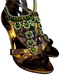 3f05c347283f Two Lips Bronze With Green Beading and Rhinestones Sandals Size US ...