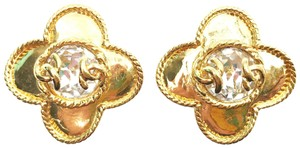 Chanel Chanel Gold Plated CC Clover Crystal Clip on Earrings