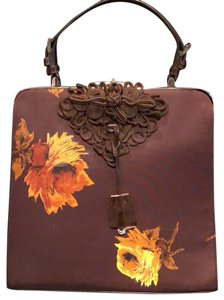 Prada Satchel in Brown with yellow flowers