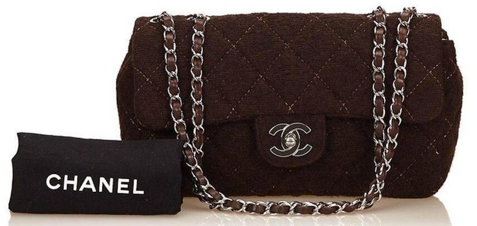 f5f27ce41e157b Chanel 2.55 Reissue Classic Single Flap Quilted Fabric Ghw Medium Cross  Body Brown Wool Leather Shoulder Bag - Tradesy