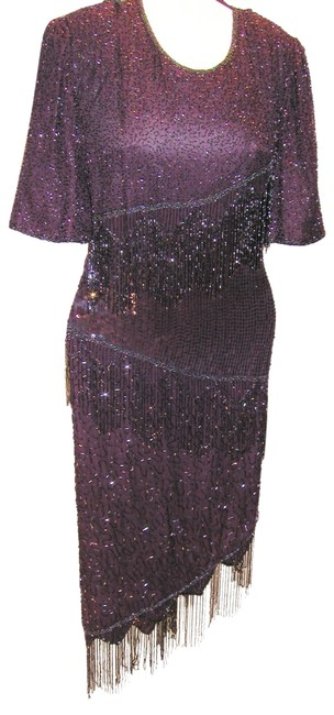 Item - Purple Half Sleeve A-cemetrical Fringe From Top To Hem Mid-length Night Out Dress Size 20 (Plus 1x)
