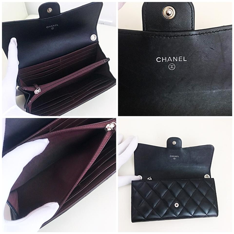9eb73a7e31091a Chanel Classic Flap Wallet with Chain Added Black Lambskin Leather ...