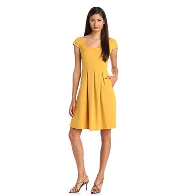 Item - Mustard Yellow Mini Waffle Fit and Flare Short Work/Office Dress Size 8 (M)