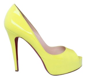 Christian Louboutin Platform Hidden Platform Peep Toe Stiletto Luxury Yellow Pumps
