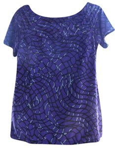 George Geometric Career Slinky Top Purple/Black/Gray