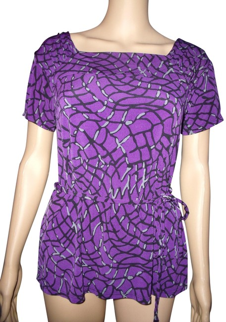 Preload https://item1.tradesy.com/images/george-purpleblackgray-slinky-stretchy-short-sleeve-artistic-geometric-blouse-size-6-s-2309060-0-2.jpg?width=400&height=650