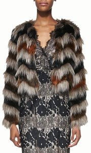 Twelfth St. by Cynthia Vincent Faux Asymmetric Hem Boho Bohemian Jacket Fur Coat