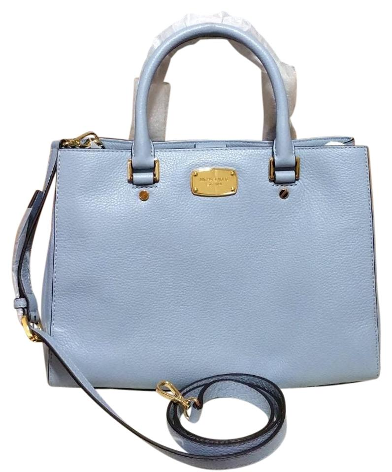 68a02de05b51 Michael Kors Carryall Bedford Medium Satchel Purse Pale Blue Leather ...