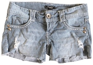 Sequin Hearts Destroyed Striped Frayed Jean Cut Off Shorts blue
