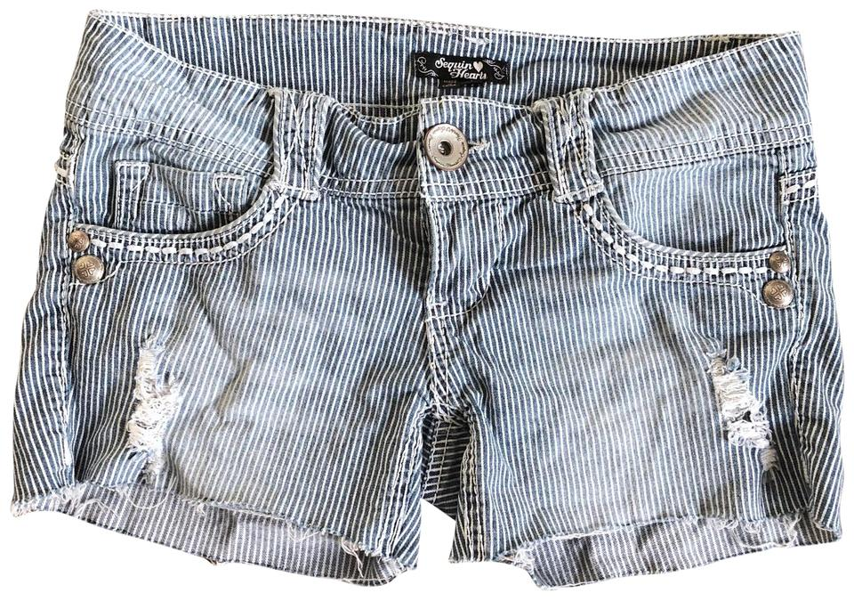 a96591b81c Sequin Hearts Blue Frayed Jean Striped Destroyed Denim Shorts Size 2 ...