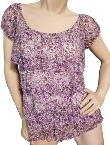 New Directions Euc Ruffles Top Lavender, blue, green floral