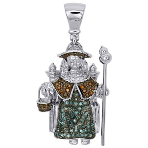 "Jewelry For Less 14K White Gold Diamond Santo Nino De Atocha Pendant 1.30"" Charm .52 CT"