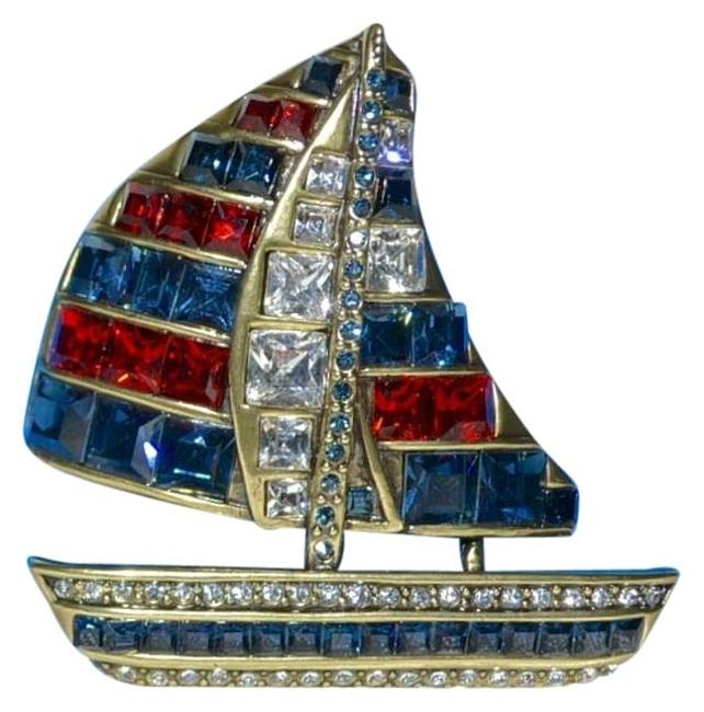 "Item - Red White Blue ""This Ship Has Sailed"" Swarovski Sailboat Crystal Pin"