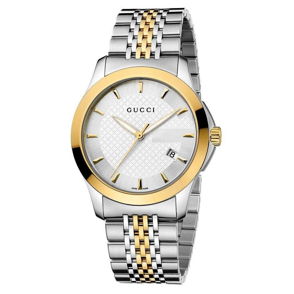 7f0b2d9bbcf Gucci Gucci G-Timeless Silver Dial Two Tone Gold 38mm Watch Image 0 ...
