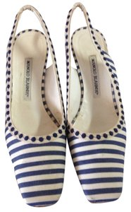 Manolo Blahnik Navy & White Pumps