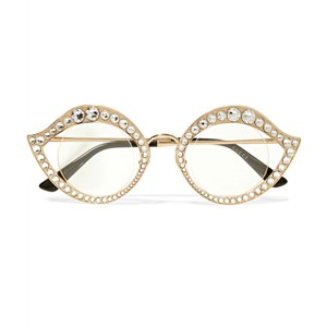 Gucci Cat Eye Metal Glasses With Crystals