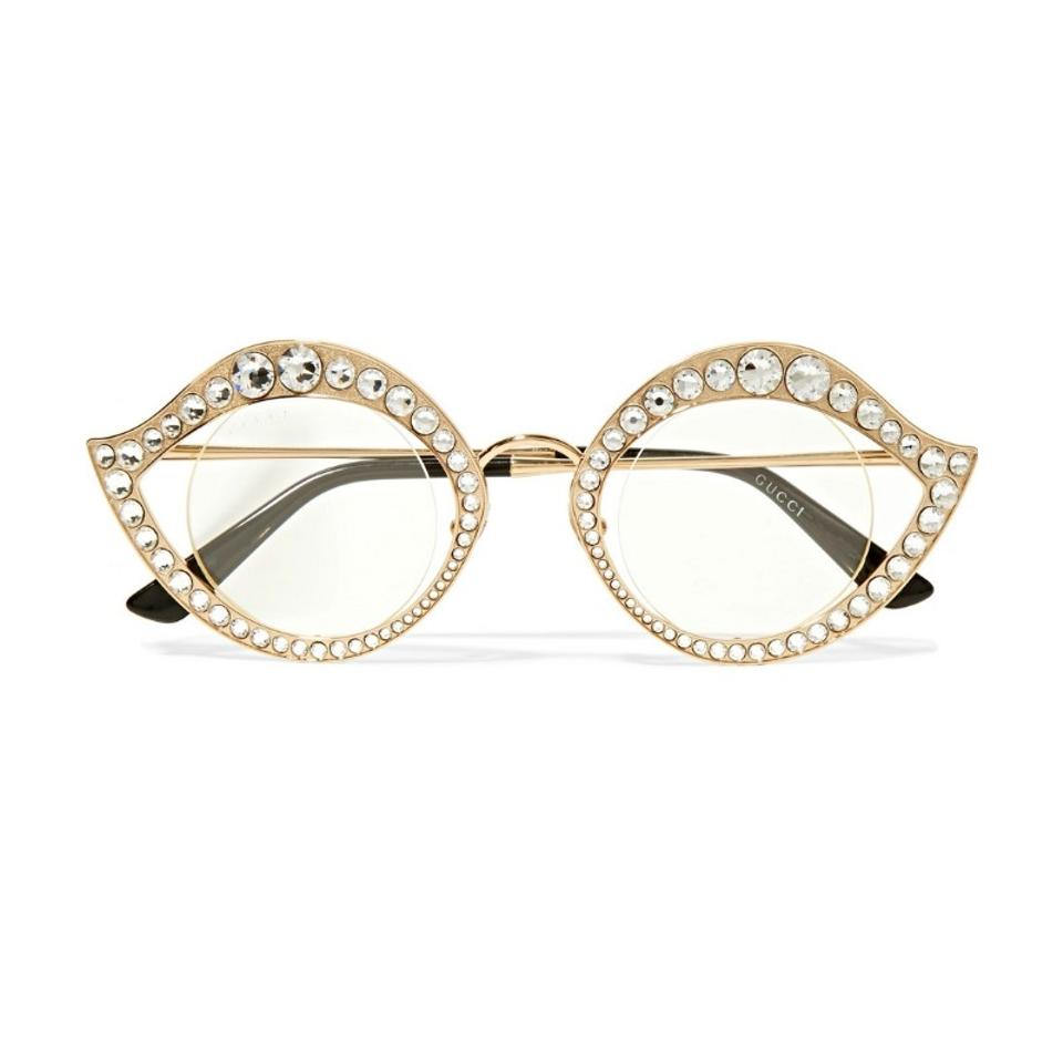 d3c6da3f82e44 Gucci Gold Cat Eye Metal Glasses with Crystals Sunglasses - Tradesy