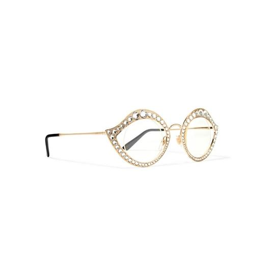 Gucci Cat Eye Metal Glasses With Crystals Image 2