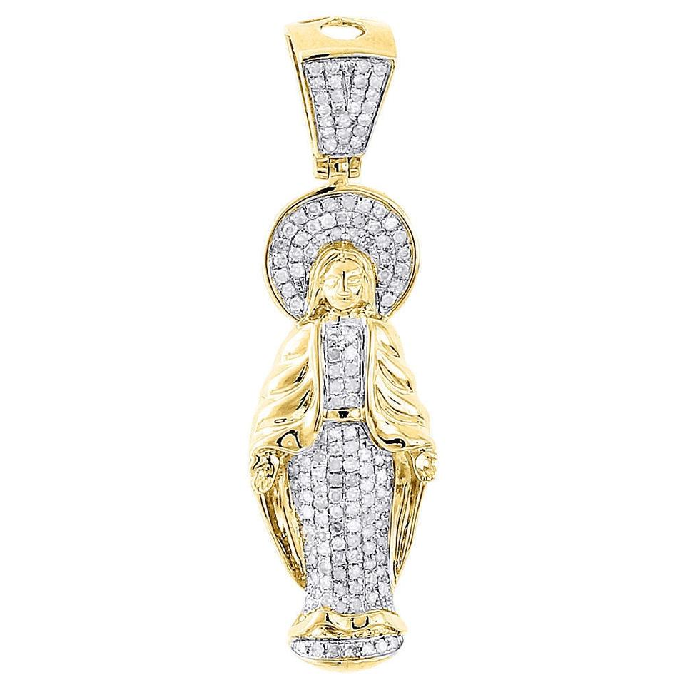 Jewelry for less yellow gold 10k diamond virgin mary pendant jewelry for less 10k yellow gold diamond virgin mary pendant guadalupe charm 090 ct aloadofball Choice Image