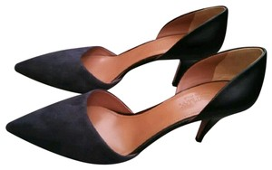 Sportmax Two Tone Heels Minimalism Suede Leather black and navy Pumps