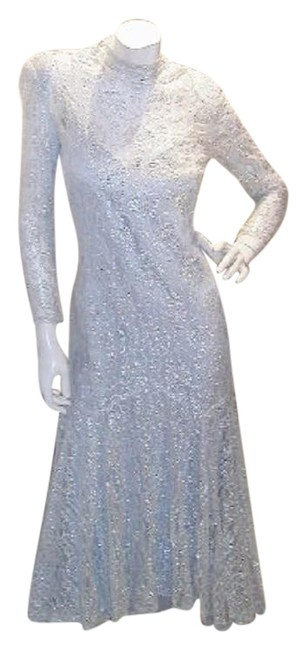 Item - Sky Blue/Silver W Asymmetrical Lace Over Satin Camisole Fitted W/Soft Flare Mermaid Long Night Out Dress Size 10 (M)