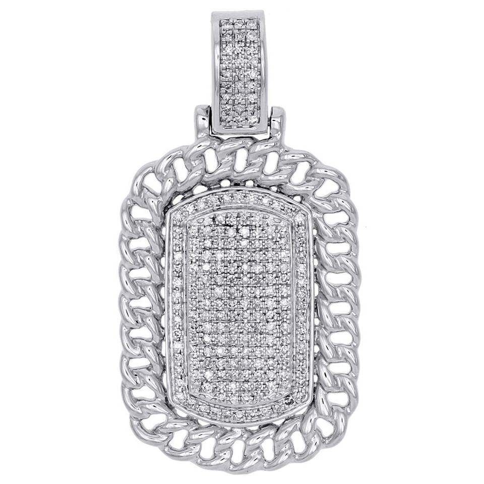 Jewelry for less white gold 10k miami cuban link diamond dog tag jewelry for less 10k white gold miami cuban link diamond dog tag pendant charm 059 ct mozeypictures Images