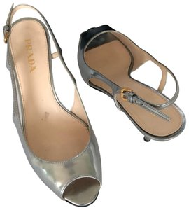 Prada Metallic Open Toe Slingback silver Pumps