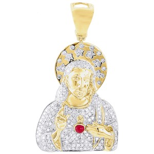 Jewelry For Less 10K Yellow Gold Diamond Pendant Sacred Heart of Jesus Red Enamel Charm