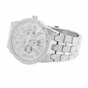 Geneva Platinum Mens White Silver Tone Wrist Watch Zircon Stones Rapper Wear Hip Hop