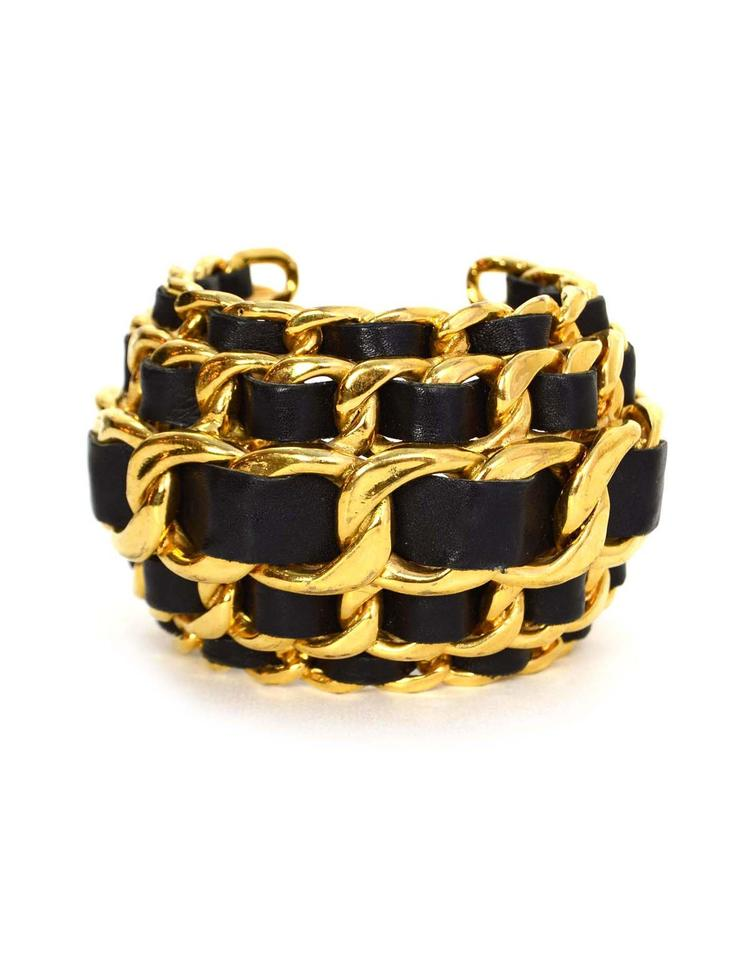 be5c9178d709ce Chanel Chanel Vintage Wide Leather Laced Chain Link Cuff Bracelet Image 0  ...