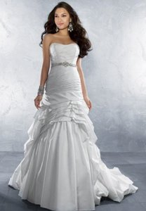 Alfred Angelo Diamond White 2168 Formal Wedding Dress Size 12 (L)