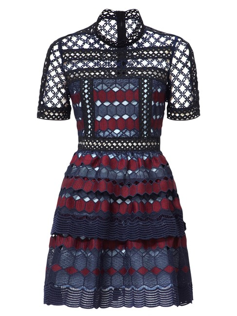 Item - Multicolor Navy Burgundy Hexagon Guipure Lace Short Cocktail Dress Size 0 (XS)
