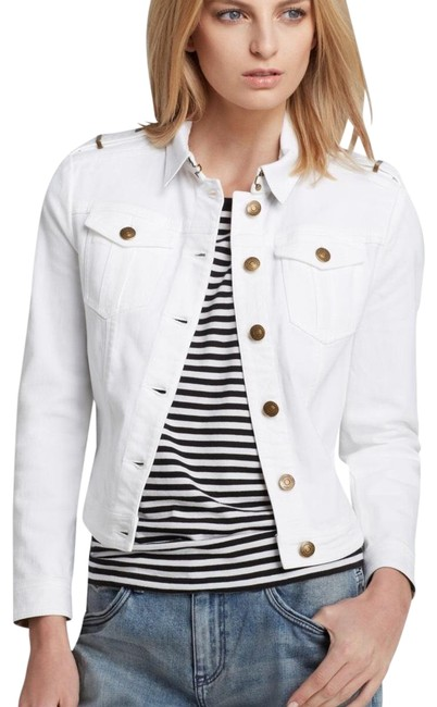 Item - White Button Front Cropped Jean Spring Brierly Jacket Size 8 (M)