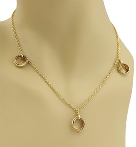Cartier Trinity 18k Gold 3 Dangling Mini Rolling Charms Necklace w/Cert
