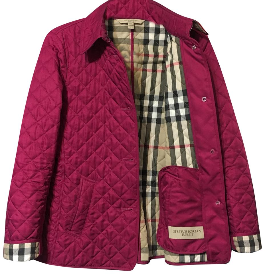 Burberry Brit Fuchsia Ashurst Quilted Jacket Size 8 M