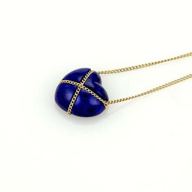 Tiffany & Co. 19379 Lapis Heart 18k Yellow Gold Pendant Necklace Tiffany & Co. 19379 Lapis Heart 18k Yellow Gold Pendant Necklace Image 1