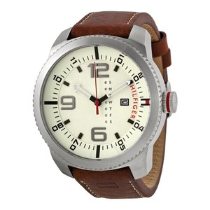 Tommy Hilfiger Leather Strap Beige Tan Dial Oversize 1791013
