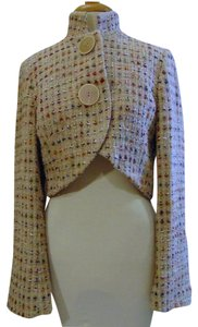 Austin Reed Short Jacket Large Button Jacket Stylish Tweed Beige with multi color threads Blazer