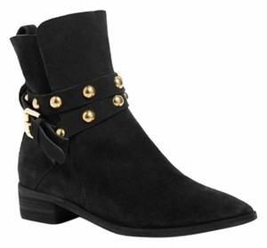 See by Chloé Suede Studded Buckle Black Boots