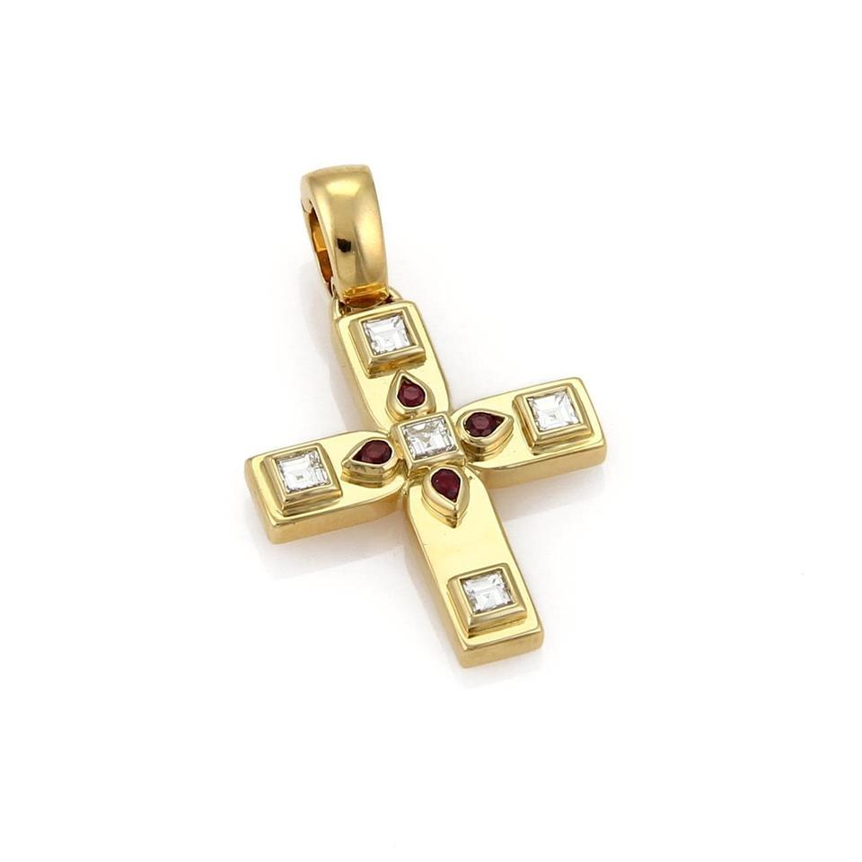 Cartier 19539 diamond ruby 18k yellow gold byzantine cross cartier diamond ruby 18k yellow gold byzantine cross pendant wpaper mozeypictures Image collections