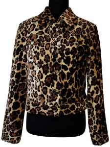 Donna Degnan Trucker Jacket Cropped Jacket Animal Leopard Print Blazer