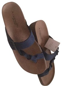 4560ad801 A. Giannetti navy blue leather upper and sand color cork and sole Sandals