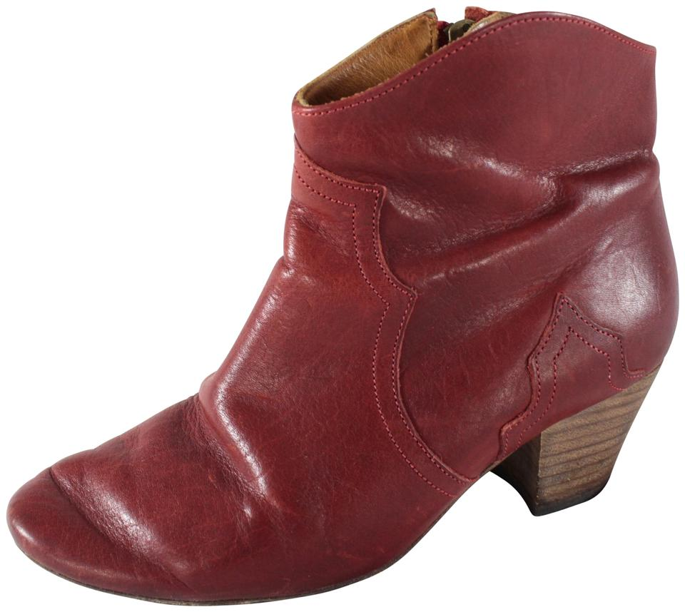 115e2399ba Isabel Marant Red Calfskin Dicker Western Ankle Boots/Booties Size ...