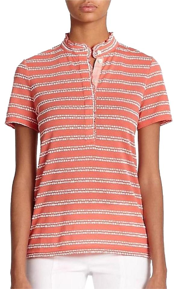 2d5271c3b35f Tory Burch Melon New with Tag Striped Polo Ruffled Color Small Button-down  Top