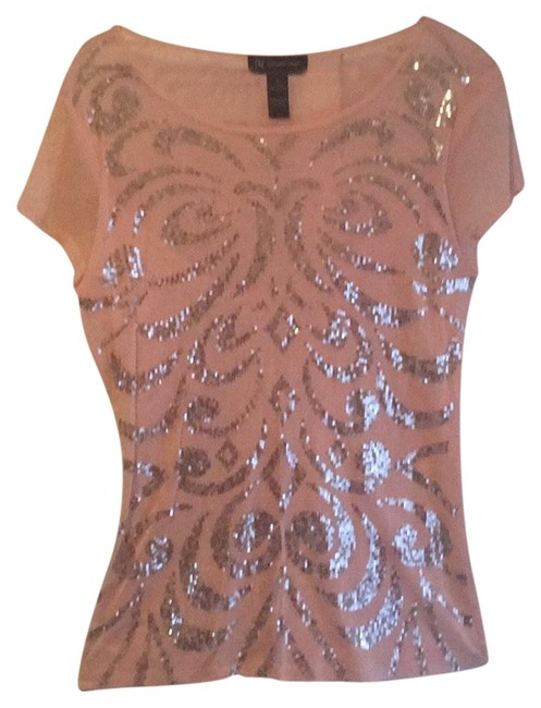 Item - Bugle Beaded Rose Sheer Nylon- Cute Top. Perfect For Nights On The Beach Or Jeans In The City Top
