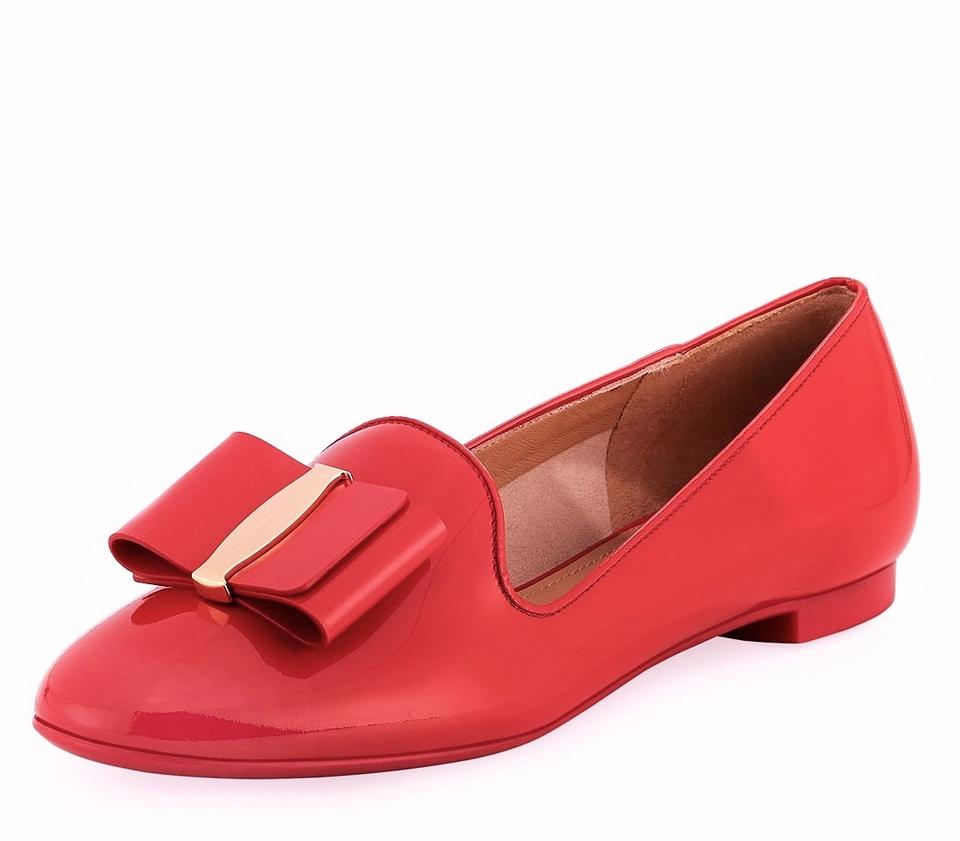 8f3bb412ca6b Salvatore Ferragamo Pamplona Red Elisabel 2 Bow Patent Leather Loafer  Formal Shoes