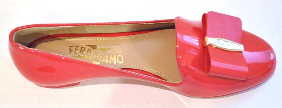 5f7b59bb772c Salvatore Ferragamo Patent Leather Bow Logo Slip-on Made In Italy Round Toe Pamplona  Red. 1234567891011
