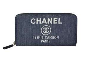 Chanel Chanel Blue Denim 31 Rue Cambon Paris Zip Wallet