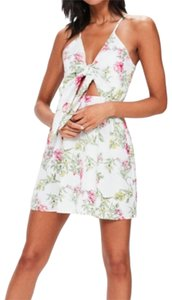 Missguided short dress white/floral on Tradesy